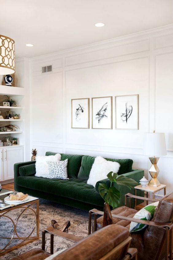 Sofa en velours vert